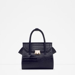 Mini Embossed Print City Bag, Zara